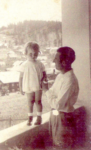 Rivka with her father-presumably two years before the invasion of Poland.