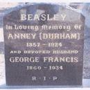 Annie (Durham) & George Beasley gravesite
