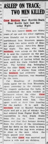 Newspaper Article about the Crow Brothers death by train