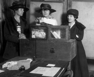 Three suffragists casting votes in New York City