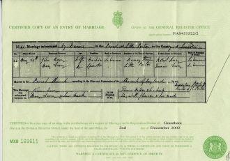 John & Mary (Derry) Avery Marriage Record