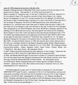 Application for Benjimen F. Jennings' Revolutionary War penison