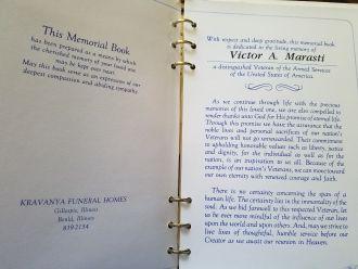 Victor A Marasti Memorial Book