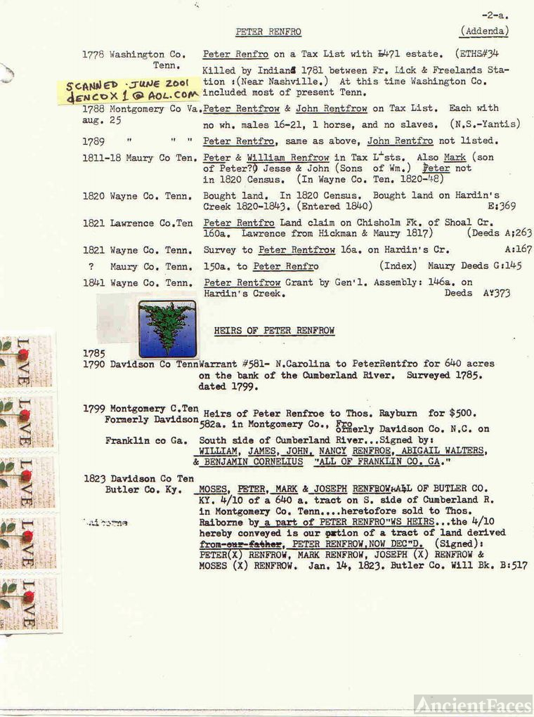 Peter Renfro/Renfrow Records-D.O.M. research notes