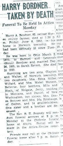 Harry Bordner Obituary