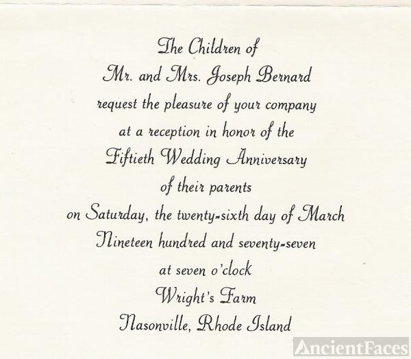 Joseph and Cedulie Bernard 50th Anniversary Invitation