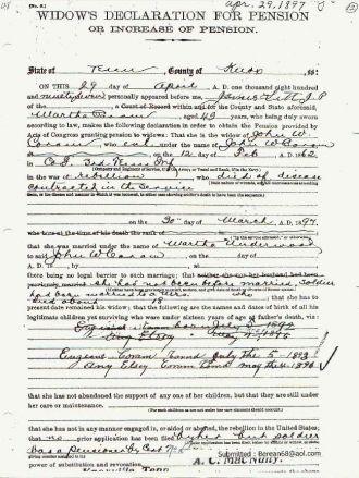 1897 Corum/Coram C. W. Pension Claim