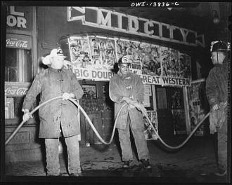 Firehouse Station No. 4. Washington, D.C. Cleaning a hose...