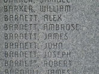 Barnetts on plaque @ Ft. Boonesborough, KY