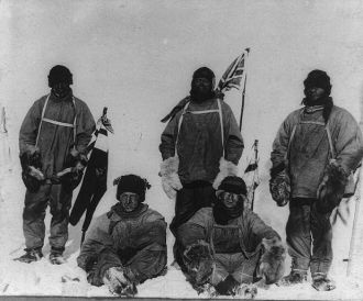 Members of the Terra Nova expedition at the South Pole