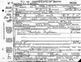 Benjamin Newkirk Death Certificate
