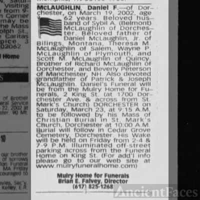 Daniel Frances Mclaughlin- obituary