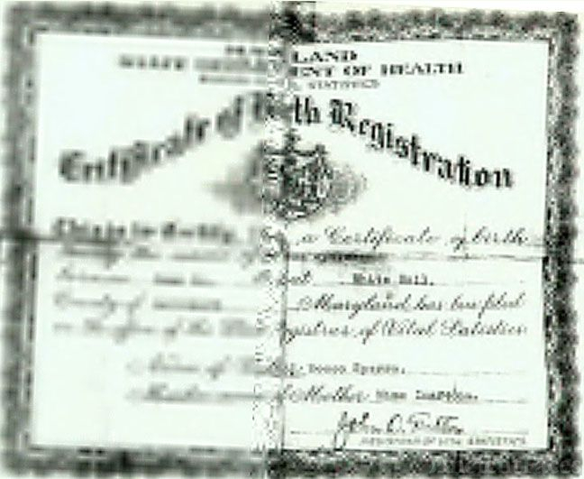Birth Certificate for Milena Spera