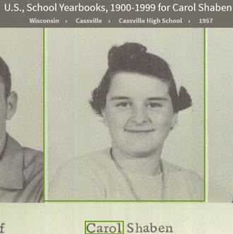Carol Lee Shaben-Wentz--U.S., School Yearbooks, 1900-1999(1957)