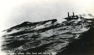 Warship in rough seas