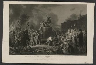 """Pulling down the statue of George III by the """"Sons of..."""