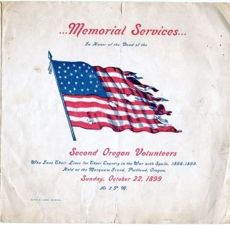 1899 Memorial Services - Second Oregon Volunteers Spanish War