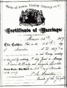 Dailey/Sickler Marriage Certificate