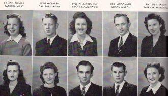 Louise Loumas and Graduating Seniors 1945