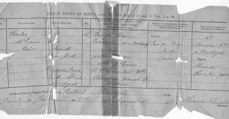Charles Weir Birth Certificate