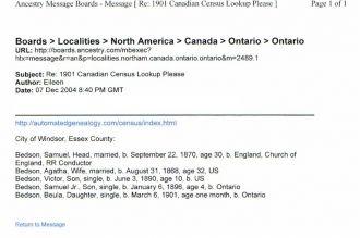 1901 Canadian census Lookup