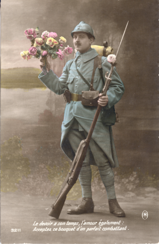 Hand tinted World War I postcard