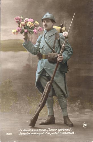 Hand tinted World War I postcard