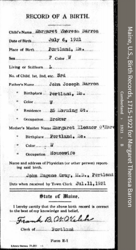 Margaret Theresa Barron--Maine, U.S., Birth Records, 1715-1922(1921)