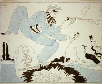 Masked criminal at the grave of John Barleycorn