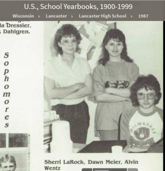 Alvin Orvie Wentz--U.S., School Yearbooks, 1900-1999(1987)Sophomores