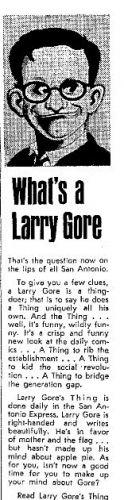 Larry Gore had a newspaper column.