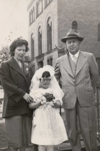 Charles J Connell with wife Edith Theresa Mulligan & daughter Mary Elaine Connell- 1st communion 24 may 1952