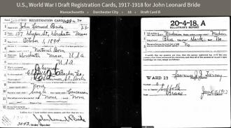John Leonard Bride--U.S., World War I Draft Registration Cards, 1917-1918 (5 jun 1917)