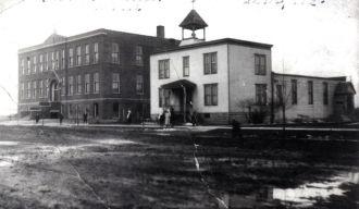 St Liborius Church & School, Illinois c1906