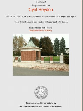 Cyril  Heydon memorial