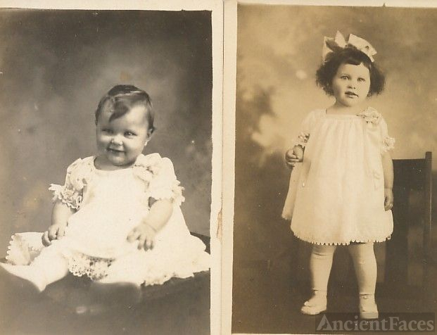 2 photos of Mildred Palmer as baby and toddler