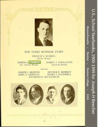 Joseph Henry Beecher--U.S., School Yearbooks, 1900-1999(1926) Sub Turri