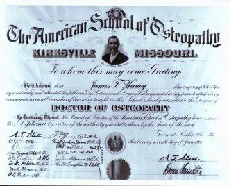 James Ford Haney's Diploma 1901 Kirksville, MO