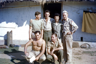 Lee in WWII with his B25 crewmates.