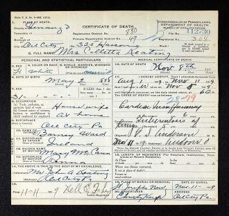 Coletta Ward Keating death certificate