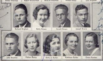 Joseph Brucia and Seniors from Lowell High School 1933