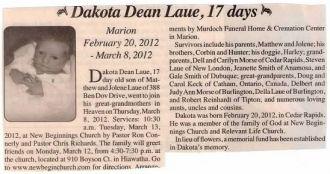 Dakota Dean Laue Obituary