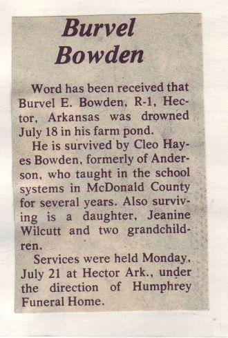 Burvel E. Bowden Obituary