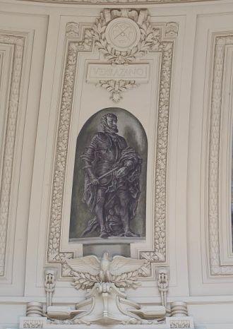 """Fresco painting """"Explorer Verrazano"""" located in rotunda,..."""