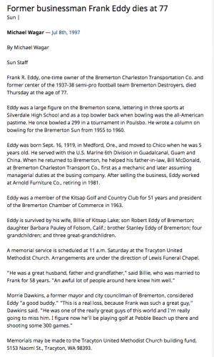 Frank R Eddy Obituary