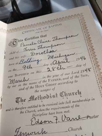 Pamela Claire (Thompson) Russell  her baptism record
