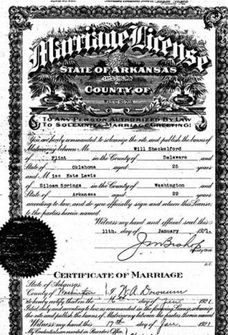 Shackelford Marriage Certificate