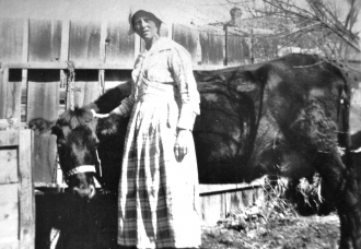 Unknown Woman with Her Milk Cow