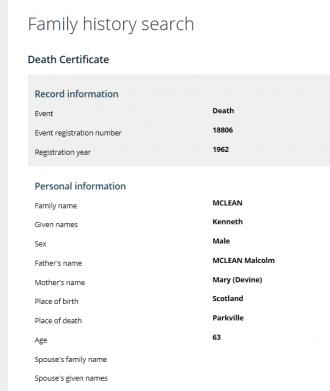 Kenneth McLean death record