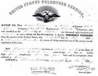 Benjamin G Willson Mexican War Honorable Discharge